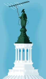 Statue of Freedom on the U.S. Capitol holding a TV antenna